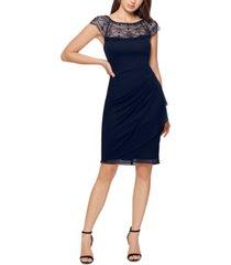 xscape beaded side-gathered dress
