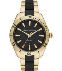 ax armani exchange men's enzo two-tone stainless steel bracelet watch 46mm