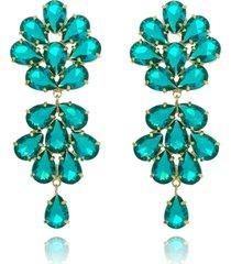 brinco maxi gotas cristais turmalina banhado a ouro 18k - verde - feminino - dafiti