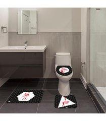 jogo de banheiro natal flamingo preto único