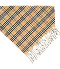 burberry vintage check double layer cashmere bandana scarf