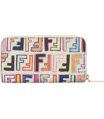 fendi pre-owned zucca pattern wallet - white