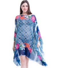 kaftan 101 resort wear estampado floral azul