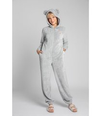 jumpsui lalupa la006 fluffy knit onepiece onesie - lichtgrijs
