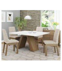 conjunto sala de jantar madesa liz mesa tampo de madeira com 4 cadeiras rustic/branco/fendi rustic/branco/fendi