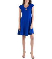 24seven comfort apparel scoop neck a-line dress with keyhole detail