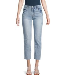 kensie women's distressed slim straight jeans - marina - size 29 (8)