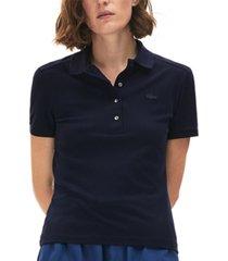 lacoste women's slim-fit short-sleeve stretch pique polo shirt