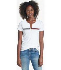 tommy hilfiger women's essential split-neck t-shirt bright white - m