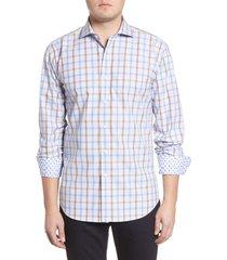 men's bugatchi shaped fit plaid button-up shirt