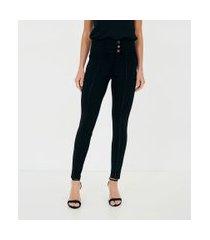 calça legging com cós largo e botões   a-collection   preto   pp