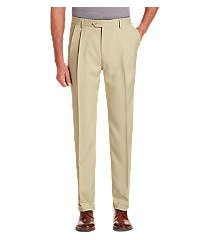 traveler performance traditional fit pleated front pants - big & tall by jos. a. bank