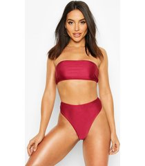 mix & match high waisted bikini brief, wine