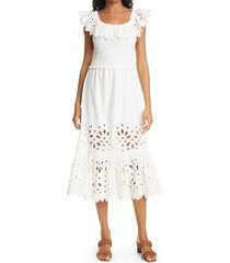 women's sea hazel eyelet lace smocked midi dress, size xx-small - white