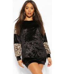 leopard contrast velvet colour block dress
