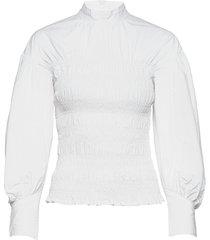 smock blouse blouse lange mouwen wit ganni
