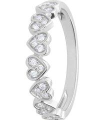 anello riviere in oro bianco con cuori e diamanti 0,15 ct per donna