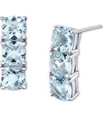 aquamarine vertical stud earrings (3-5/8 ct. t.w.) in sterling silver