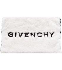 givenchy large faux fur clutch - black