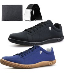 kit 2 pares sapatenis neway sw masculino preto + azul + cinto + carteira - preto - masculino - dafiti