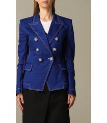balmain blazer balmain double-breasted cotton drill jacket
