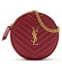saint laurent bolsa tiracolo round de couro - vermelho