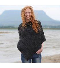 ladies aran cable knit poncho charcoal medium/large