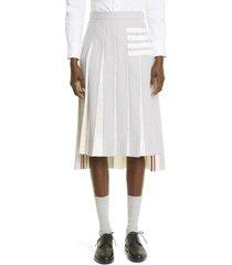 women's thom browne 4-bar pleated high/low seersucker skirt, size 0 us - white