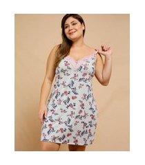 camisola plus size feminina estampa floral marisa