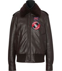 burberry detachable shearling collar flight jacket with warmer - brown