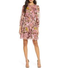 women's eliza j floral print balloon sleeve ruffle dress