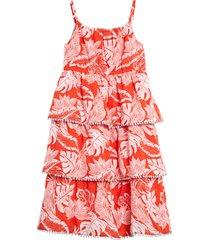 girl's mini boden tropical print tiered woven sundress