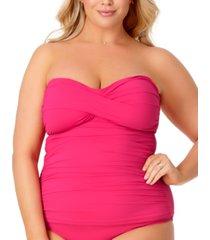 anne cole plus size twist-front strapless tankini women's swimsuit