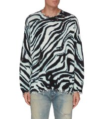 distressed oversized zebra print sweater