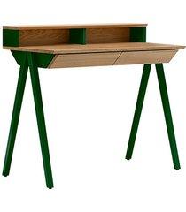 dębowe biurko vogel s z nadstawką zielone