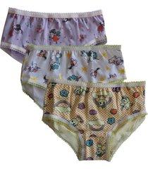 kit 3 calcinhas sortidas bichinhos infantis em algodão
