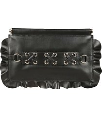 red valentino ruffle trim clutch