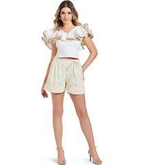 high-rise belted lace shorts