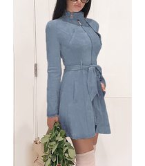 blue zip front stand collar long sleeves suede vestido