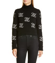 women's fendi logo embroidered crop wool & cashmere sweater, size 10 us / 46 it - black