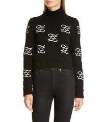 women's fendi logo embroidered crop wool & cashmere sweater, size 6 us / 42 it - black