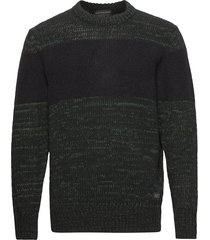 recycled cotton-blend pull with contrast wooly stripe gebreide trui met ronde kraag groen scotch & soda