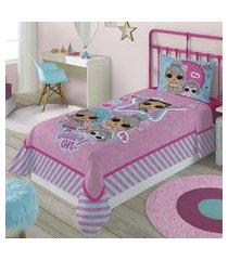 jogo de cama solteiro lepper lol surprise 2 peças rosa