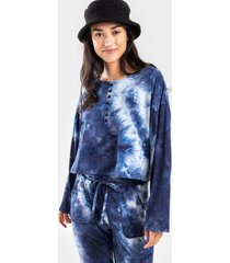 andey tie-dye button lounge tee - navy