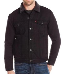 levi's men's premium button up denim sherpa jeans trucker jacket