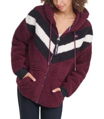 tommy hilfiger sport faux-fur zip hoodie