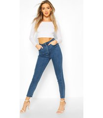 butt shaper high rise skinny jeans, mid blue