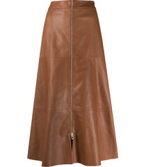 drome front-zip midi skirt - brown