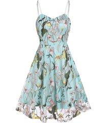 embroidered floral lace layers fit and flare dress