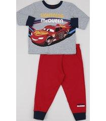 pijama de moletom infantil mcqueen os carros manga longa cinza mescla